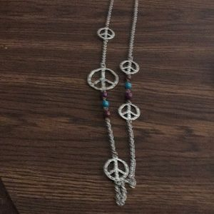 Jewelry - Peace sign necklace very gently worn with beads